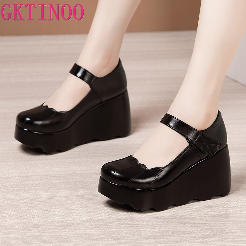 GKTINOO 2020 Spring Leather Women Shoes Platform Wedges High Heels Round Toes Ankle Strap Black Women Pumps Large Size 33-43