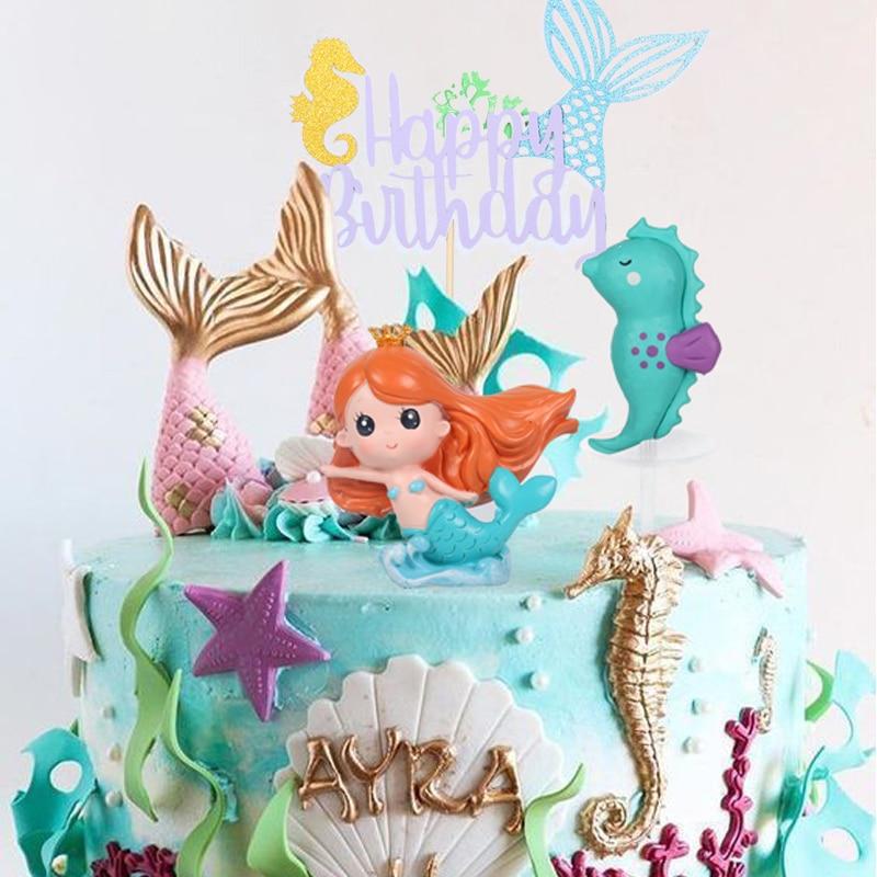 Meerjungfrau Party Dekorationen Meerjungfrau Geburtstag Kuchen Topper Cupcake Wrapper Baby Junge Mädchen Kinder Favors Meerjungfrau Party Thema Liefert