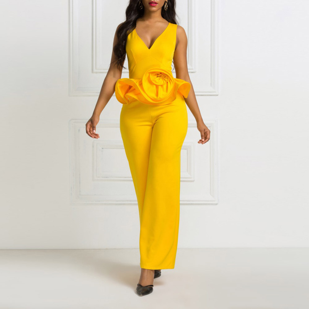 African Fashion Women Jumpsuit Plus Size S-2XL Solid Yellow Ruffles Party Long Jumpsuits Elegant Office Ladies Playsuit Rompers