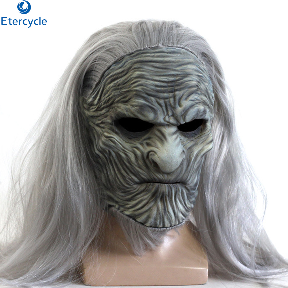 Halloween mask Game of Thrones Season Ghost Night King Latex Wig Mask cosplay festival Party Character props image