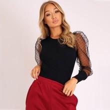 New Lace Puff Sleeve Women's Bodysuit Autumn Long Sleeve Polka Dot Vintage Bodycon Jumpsuit Tops Skinny Mesh Bodysuits mesh insert polka dot knee length bodycon dress
