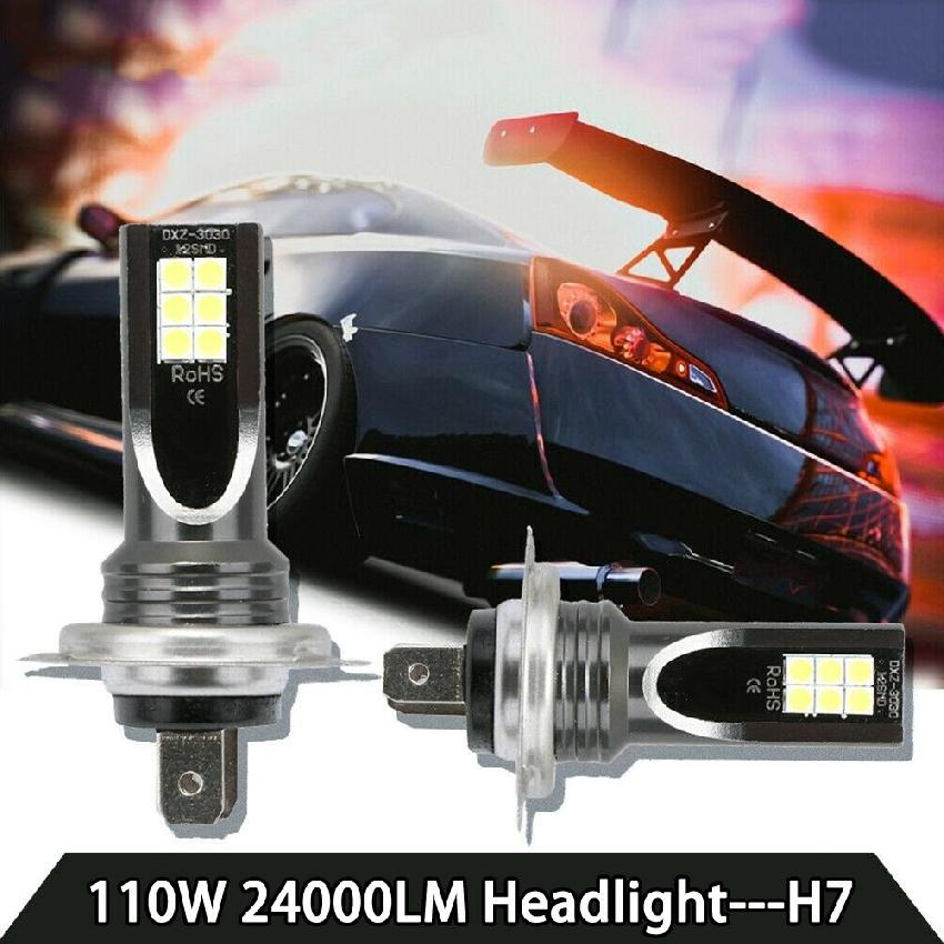 2PCS H7 Car LED Headlight Bulbs  80W 10000Lm LED Car Headlight Conversion Globes Bulbs Beam 6000K Auto Mini Headlamp  Fog Light