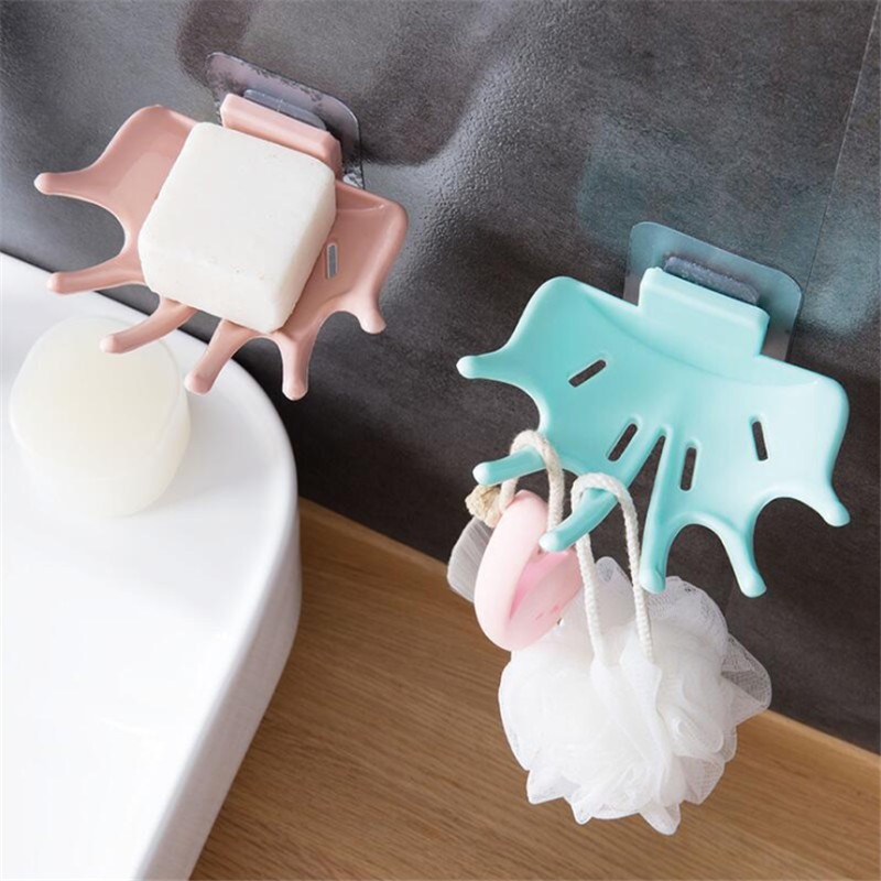 CTREE 1Pcs Creative Bathroom Shower Soap Box Drain Strong Stand Wall-Mounted Soap Dish 5 Hook Up Kitchen Bathroom Accessories