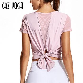 CRZ YOGA damskie treningi jogi siatkowane koszule odzież sportowa seksowna koszulka sportowa bez pleców tanie i dobre opinie CN (pochodzenie) WOMEN Pasuje prawda na wymiar weź swój normalny rozmiar Szybkie suche 74 Polyamide 26 Spandex R764 XXS XS S M L XL