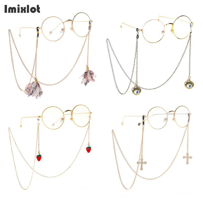 1PC Multiple Styles Gold Metal Eyeglass Chains With Pendant Strawberry Cross Flower Reading Glasses Cord Holder Neck Strap Rope