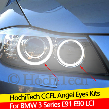 Hight Quality CCFL Angel Eyes Kit Warm White Halo Ring For BMW 3 Series E91 E90 LCI 2009-2012 Xenon headlights Demon Eye image
