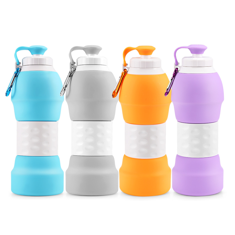 Hcd28e2c418404f9cb35bbba3f26347edr 500ML Portable Silicone Water Bottle Retractable Folding Coffee Bottle Outdoor Travel Drinking Collapsible Sport Drink Kettle