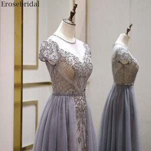 Image 4 - Erosebridal Elegant Short Sleeve Evening Dress 2020 A Line Beads Long Prom Dress O Neck Small Train See Through Back