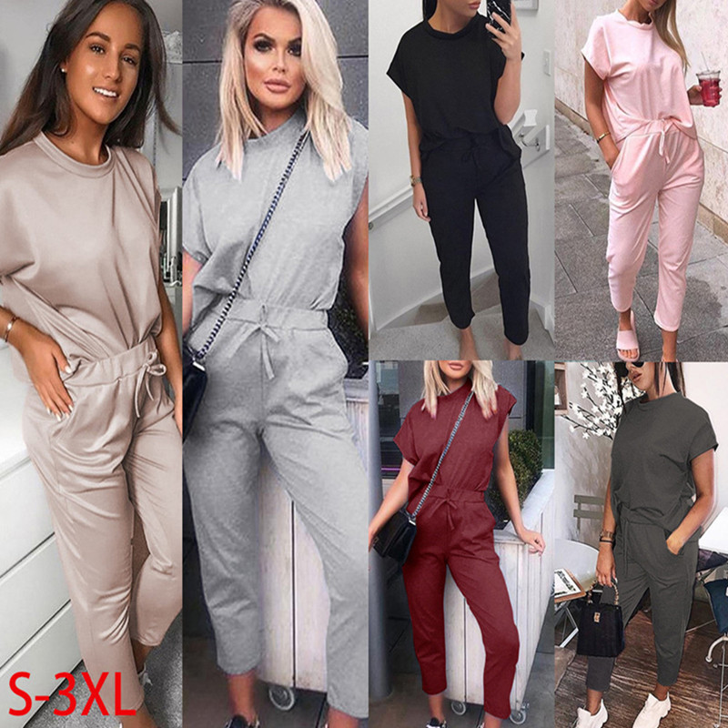 Summer O Neck Short Sleeve Women's Sets 2020 Solid Slim Cropped Pants Two Piece Set Fashion Holiday Ladies 2 Piece Set Plus Size