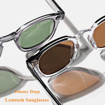 Johnny Depp LEMTOSH okulary mężczyźni spolaryzowane rocznika okrągłe importowane octan okulary kobiety okulary korekcyjne óculos tanie i dobre opinie SO SMOOTH WIND CN (pochodzenie) ROUND Dla osób dorosłych Z poliwęglanu Fotochromowe UV400 36-42mm Z żywicy LEMTOSH-SUNGLASSES