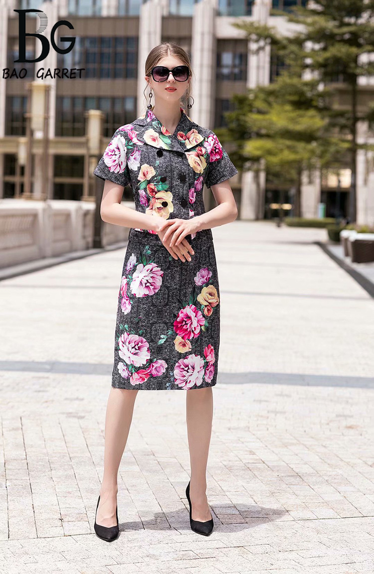 Baogarret Designer Early Autumn Printed Skirt Suit Women 39 s Short Sleeve Double Breasted Jacket Skirt Office Lady Twinset in Women 39 s Sets from Women 39 s Clothing