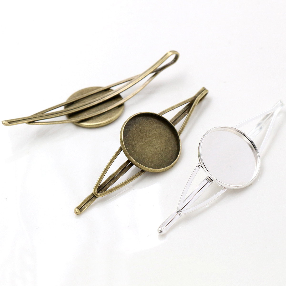 20mm 5pcs High Quality Bronze And Silver Plated Copper Material Hairpin Hair Clips Hairpin Base Setting Cabochon Cameo