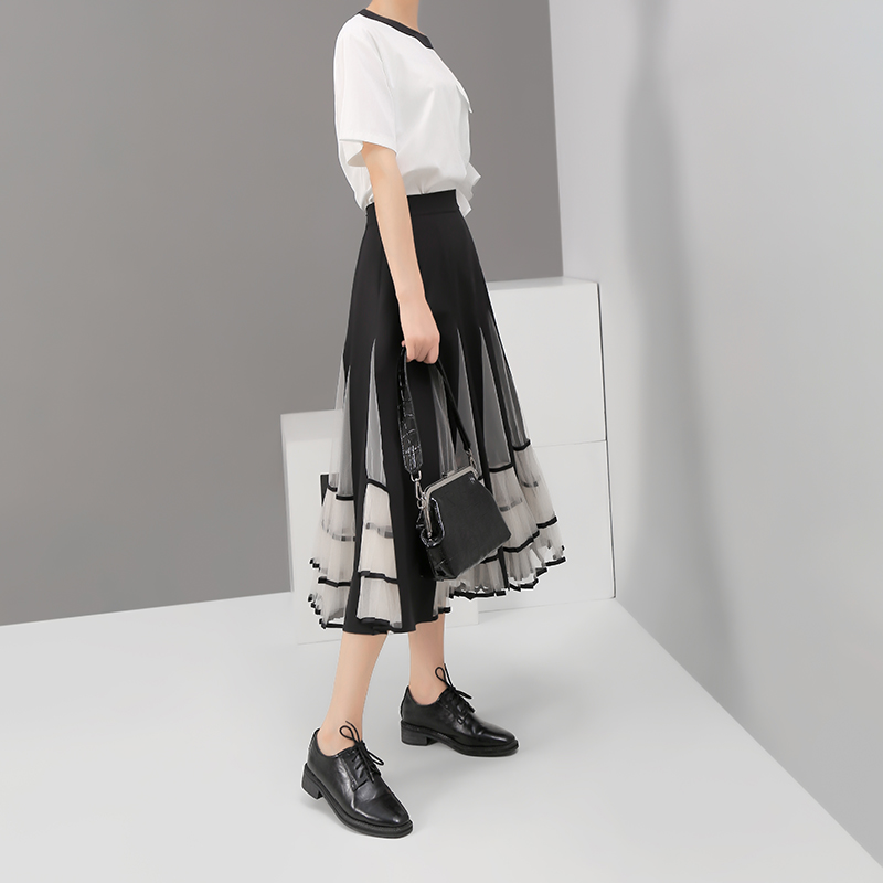 Image 4 - New 2020 Women Black Elastic High Waist Skirt Mesh Patchwork A 