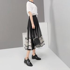 Image 4 - Yeni 2020 kadın siyah elastik yüksek bel etek örgü Patchwork A Line bayanlar kore moda zarif etek rahat sokak tarzı 5409