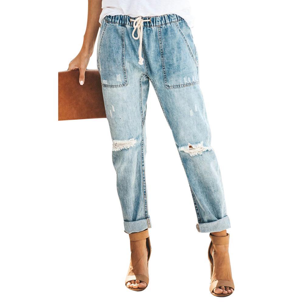 Hot Vintage Women Distressed Ripped Denim Drawstring Elastic Waist Jeans Long Pants Denim Drawstring Elastic Waist Jeans Long