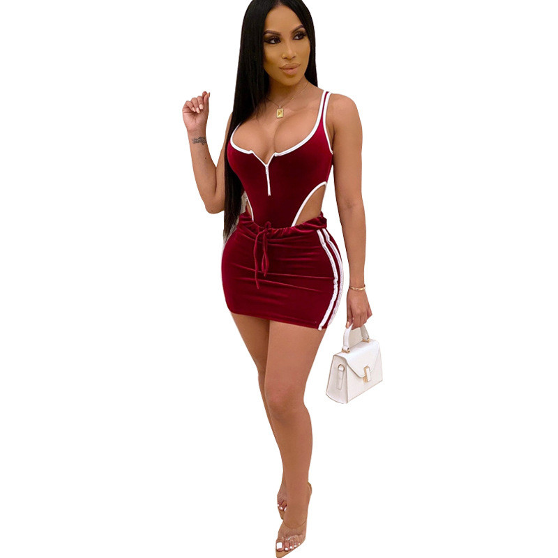 Adogirl Color Patchwork Velvet Two Piece Set Dress Zipper V Neck Sleeveless Bodysuit Top Bodycon Mini Skirt Women Sexy Club Suit