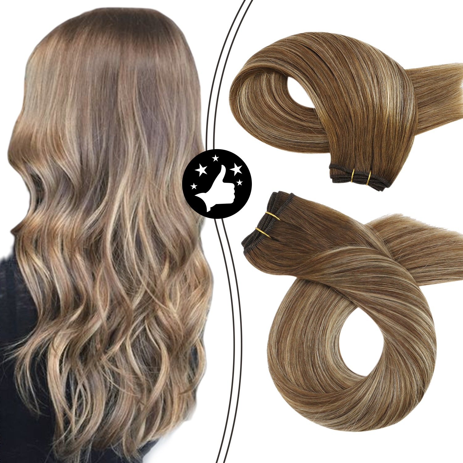 Human Hair Extensions Sew in Bundles Natural and Soft Mahcine Remy Hair Balayage Brown and Blonde Weft Hair Invisible Weave
