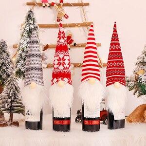 Image 3 - 2021 presente de ano novo papai noel garrafa de vinho capa poeira natal decorações para casa navidad 2020 mesa jantar decoração