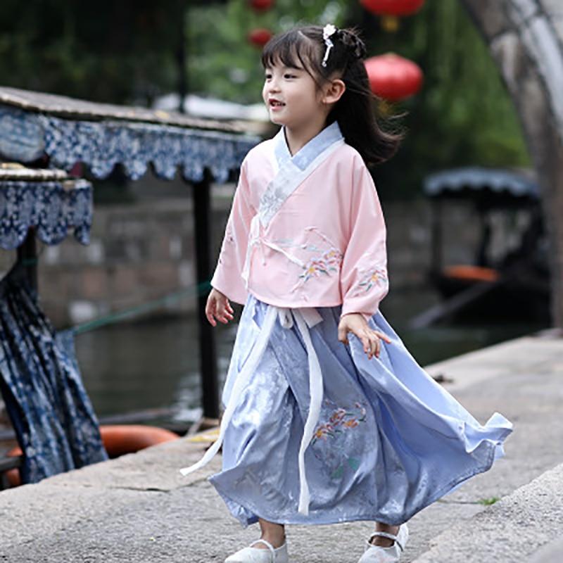 girls Ancient Chinese Costume Kids Child Hanfu Dress Clothing Folk Dance Performance Chinese Traditional Dress For Girls