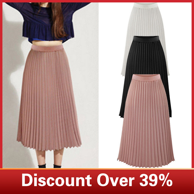 Skirts Women Solid Color Pleated Elegant Mid Elastic Waist Casual Maxi Dress Mid Length Skirt Womens Summer Fashion юбка женская