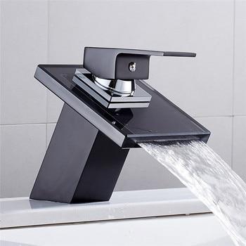 Mixer Tap Deck Mounted Bathroom Waterfall Faucet Glass Brass Basin Faucet Basin Sink Mixer Tap Not LED Not Emperature Sensitive