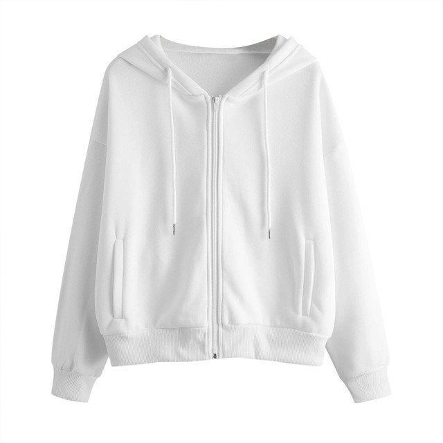 Lose Weight White Women Casual Solid Long Sleeve Zipper Pocket Shirt Hooded Sweatshirt Tops Hoodies Women Ropa Mujer 2
