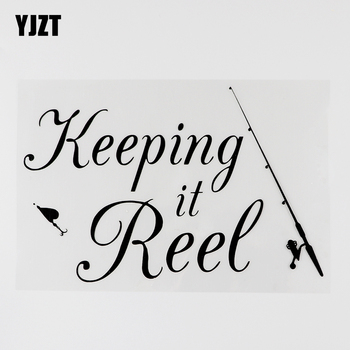 YJZT 18.4CMX12.4CM Fishing Rod Keeping it reel Fishing Decal Vinyl Car Sticker Black/Silver 8A-1048 image
