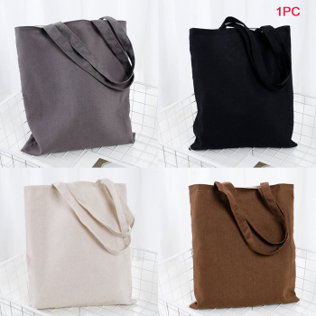 Universal Shopping Bag Large Capacity Cotton Blend Solid Tote Eco Freindly Multipurpose Reusable Natural Storage School #734 1