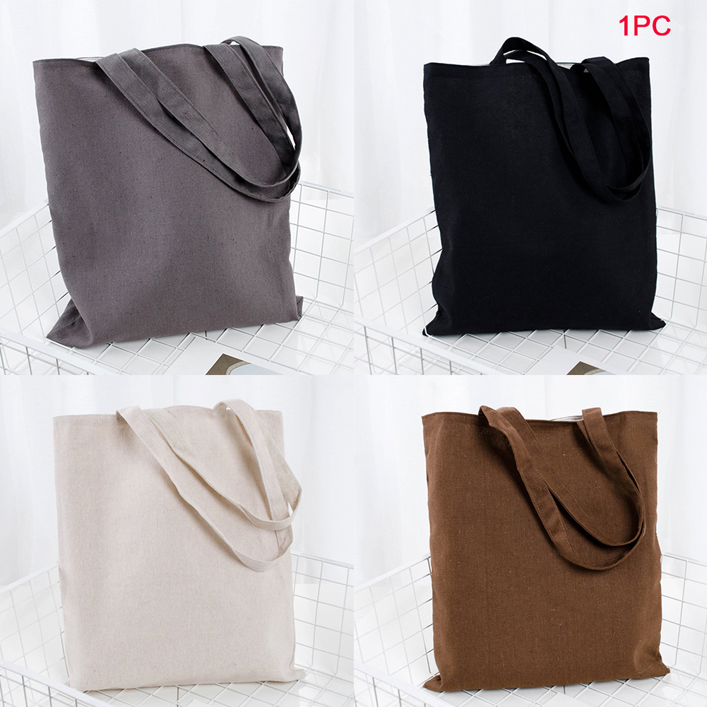 Universal Shopping Bag Large Capacity Cotton Blend Solid Tote Eco Freindly Multipurpose Reusable Natural Storage School #734