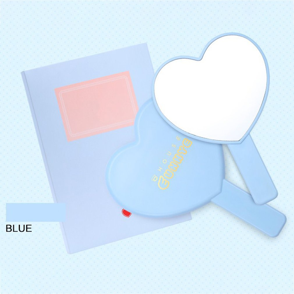 Romantic Cute Girl Heart Heart Shaped Candy Color Makeup Mirror 3 Colors Portable Makeup Mirror Hand Grip Sale
