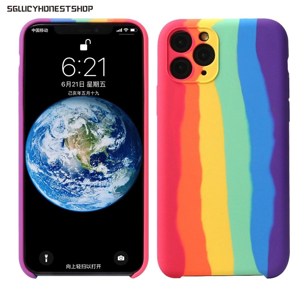 Original Liquid Rainbow Silicone Case Cover For Apple iPhone 11 Pro Max SE 2 XR Xs Max 7 8 Plus Rainbow Watchband Same item Case