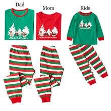 2Pcs Family Christmas Pajamas Matching Clothes Pjs Sleepwear Kids&Adult Long Sleeve T-shirt+Striped Pants E0284