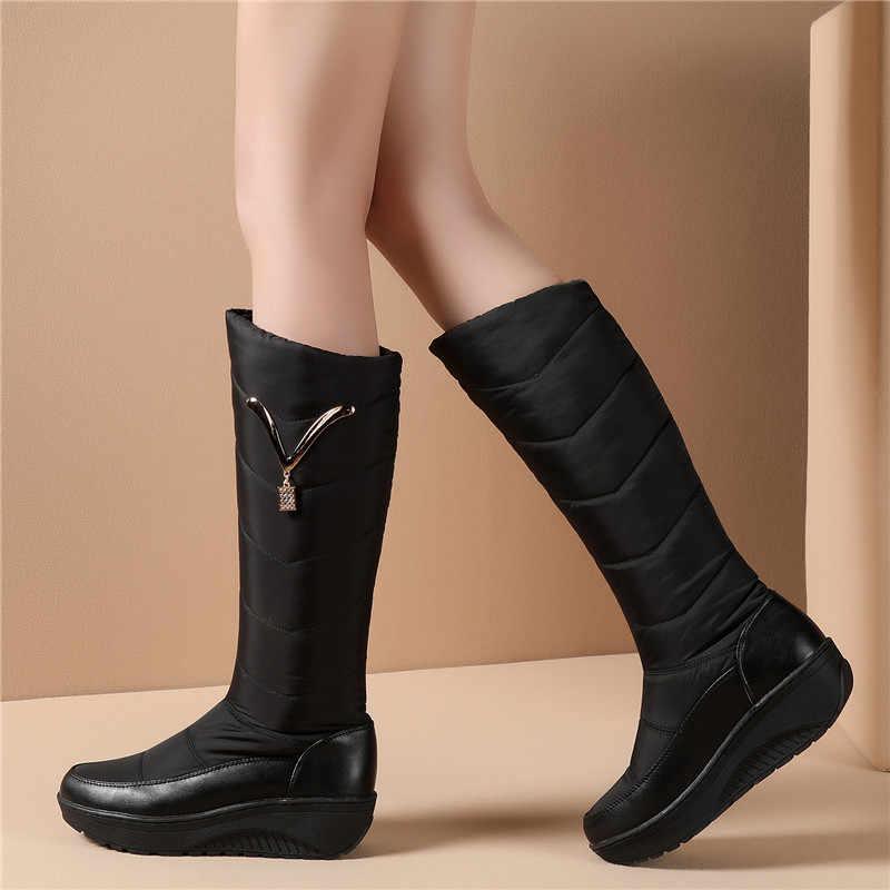 MORAZORA 2020 kar botları kadın kış sıcak platform ayakkabılar moda Metal dekorasyon su geçirmez kaymaz takozlar diz yüksek çizmeler