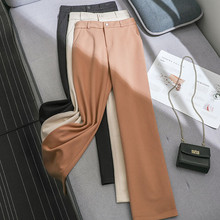 JUJULAND woman woolen straight-leg pants winter thick solid High-waisted trousers with elastic waistline 295