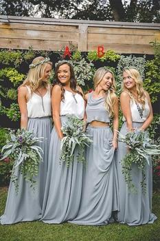 New Elegant Pretty Lovely Gray Blue Long A-Line 2 Pieces Simple Bridesmaid Dresses  robe de soirée mariage - discount item  4% OFF Wedding Party Dress
