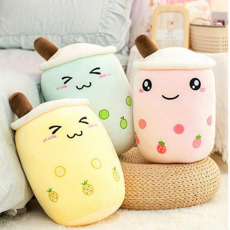 Розовая клубника Бо Ба чашка для молока и чая плюшевая игрушка набивные фрукты лимон яблоко жемчуг детский молочный чай подушка для обниман...