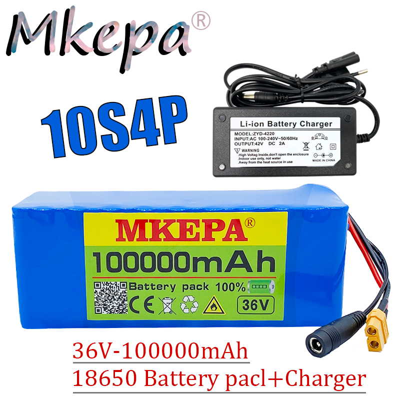 Original 36v bateria 10s4p 100ah bateria 1000w bateria de alta potência 42v 100000mah ebike bicicleta elétrica bms + 42v2a carregador