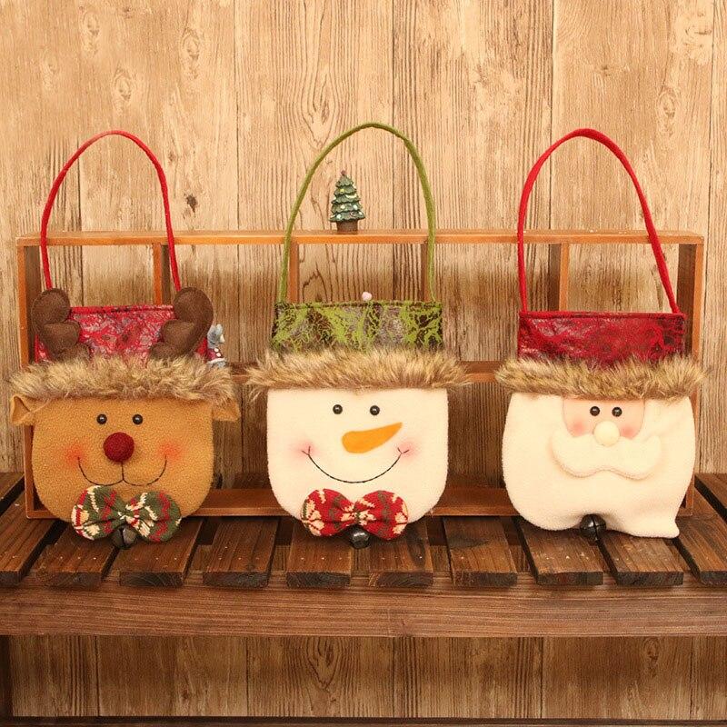 Novedosos soportes de regalo X'MAS Santa Claus muñeco de nieve ciervo bolsa de diseño con campana Navidad Fiesta suministros 18*43 cm 10 uds/lote DEC421