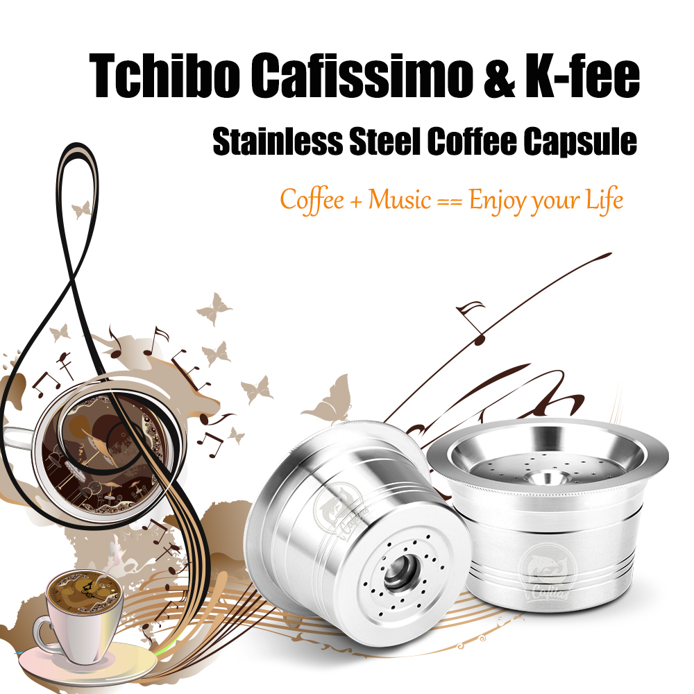 Reusable Coffee Capsules Filter For K-fee Tchibo Cafissimo Machine Stainless Steel Filters With Spoon Tamper