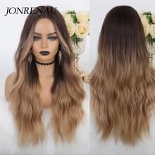 JONRENAU syntetyczny z grzywką jasnobrązowy mieszany blond długie naturalne włosy falowane peruki na przyjęcie dla białych/czarnych kobiet