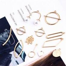 6pcs Hot Sale Alloy Geometric Shaped Creative Ladies Earrings Vintage Jewelry Material Pearl Pendant Diy Handmade Accessories