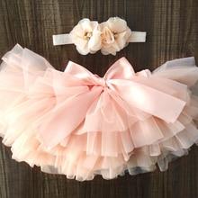 Skirt Bloomers Short Tutu Tulle Girls Infant Newborn 2pcs Headband-Set Diapers-Cover