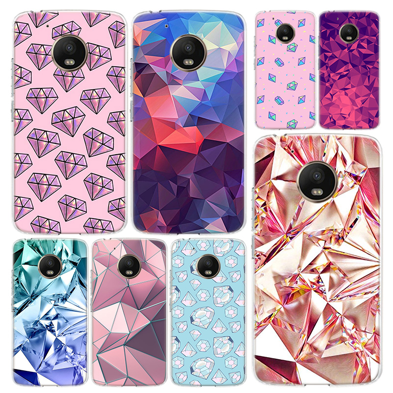 Crystal Diamond Print Phone Case Cover For Motorola Moto G8 G7 G6 G5 G5S G4 E6 E5 E4 Power Plus Play One Action Macro Vision Coq