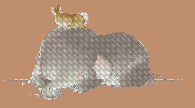 tt Gold Collection Counted Cross Stitch Kit Cross stitch RS cotton with cross stitch <font><b>Merejka</b></font> Sleeping baby elephant and rabbit image