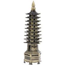 Vintage Chinses historia Wenchang Pagoda wieża statua Metal brąz Model replika budynku figurki wystrój domu kolekcje