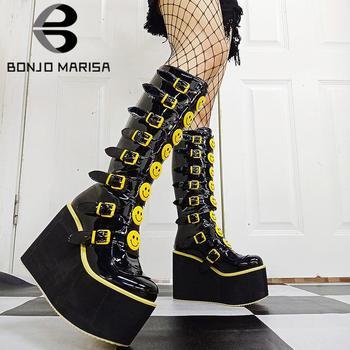 BONJOMARISA New Arrivals Platform Wedges Goth Punk Combat Motorcycle Boots For Women Zipper Fashion Cool Calf Women Boots