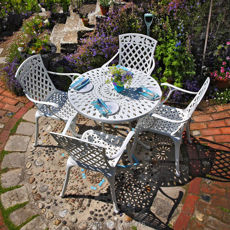 5-piece  Patio Dining Table Set With 4 Chairs High-back ,with Gird And Rose Design Heavy Duty  Cast Aluminum Round