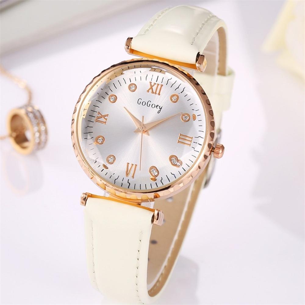 Fashion Simple Inlaid Leather Purple Strap Watches New Luxury Bracelet Watch Ladies Fashion Rose Quartz Watch Relogio Feminino