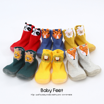 Skarpety dziecięce miękkie podeszwy zwierzęce śliczne buty tanie i dobre opinie Cotton Fabric Płytkie Wiosna jesień Slip-on Animal prints Dla dzieci Unisex Pierwsze spacerowiczów RUBBER Pasuje prawda na wymiar weź swój normalny rozmiar