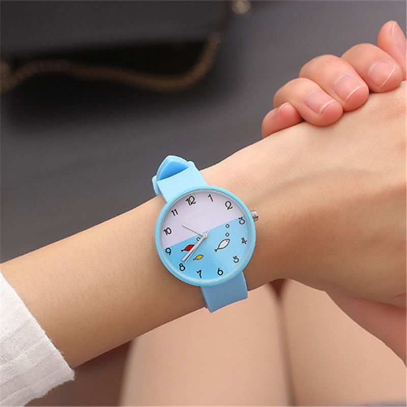 Blue School Student Clock Numeral Children's Wrist Watches Fashion Safety Silicone Watchband Kids Hour Waterproof Boy Girl Watch